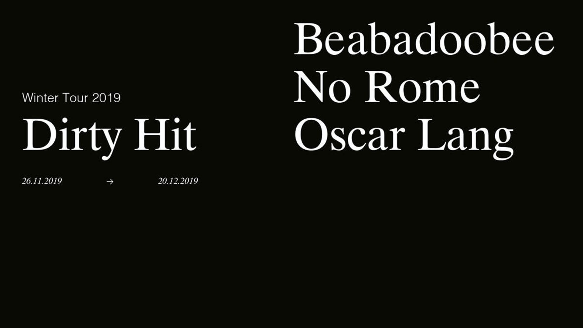[Venue upgrade] Dirty Hit Tour presents Beabadoobee, No Rome & Oscar Lang