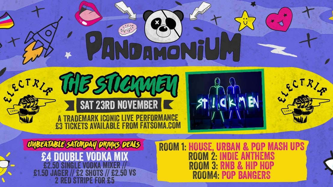 Pandamonium Saturdays presents THE STICKMEN LIVE