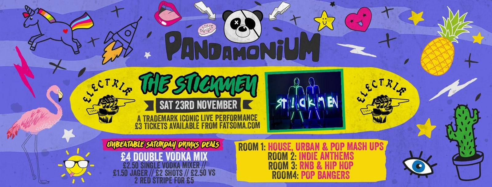 Pandamonium Saturdays presents THE STICKMEN LIVE