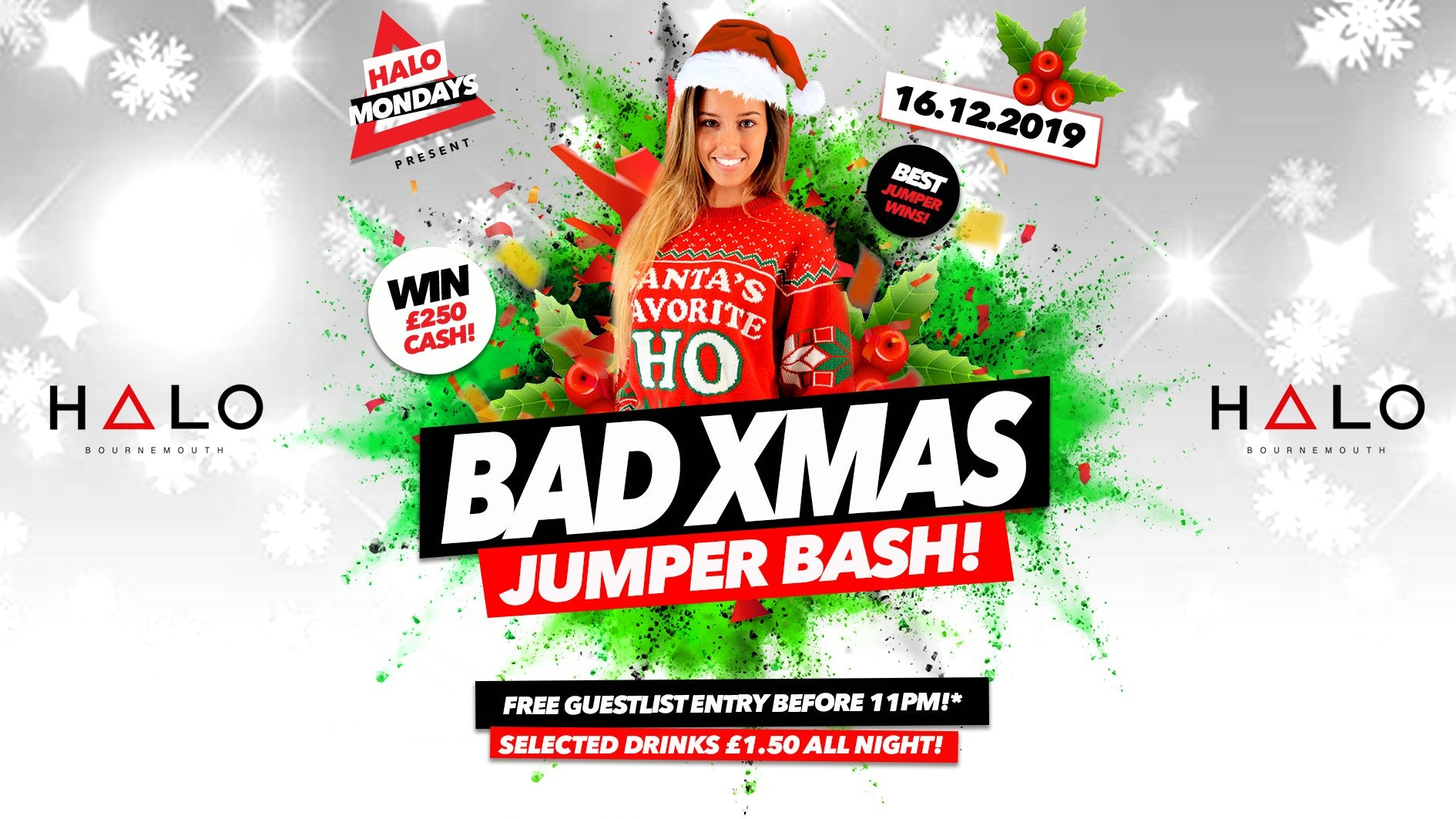 Bad Xmas Jumper Bash – Win £250 Cash!