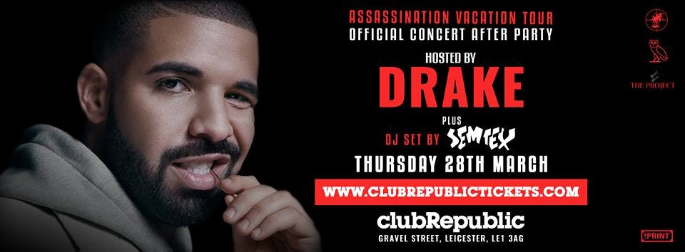 Drake Hosts Official Concert After Party at Club Republic – Final Release Tickets