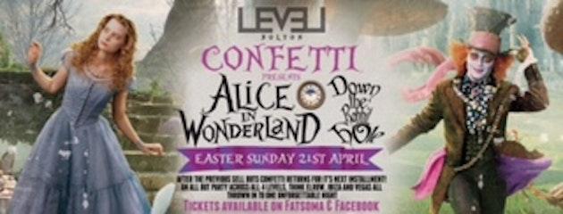 Confetti Bank Holiday Sunday -Alice in wonderland –  Down the Rabbit hole