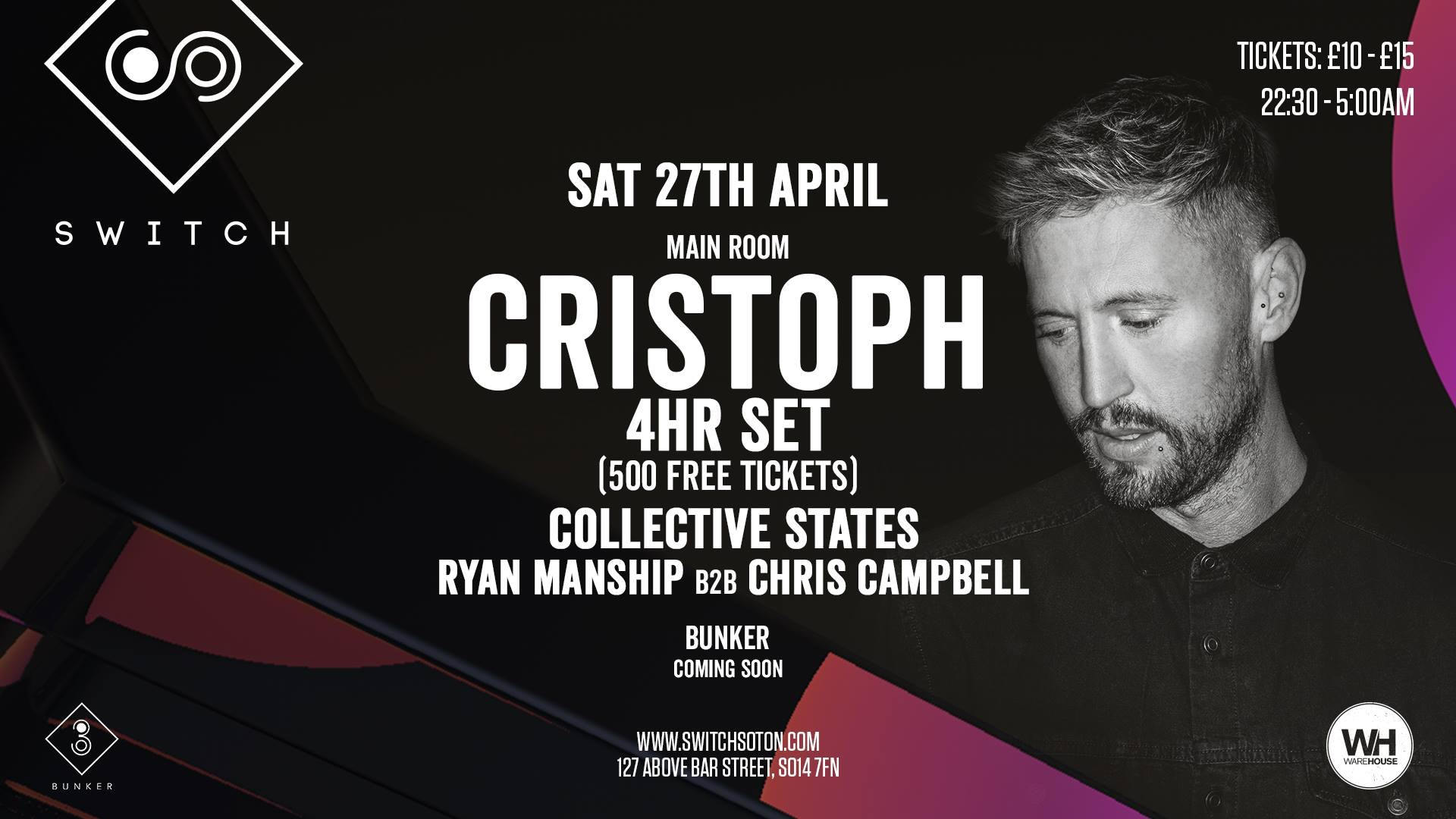 Cristoph (4hr Set) • Saturday 27th April