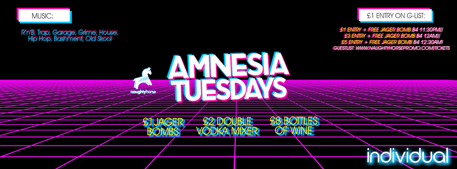 AMNESIA TUESDAYS: MULTI VENUE FRESHERS SPECIAL at Indi + Arcadian Venues TBA – £1 Entry + FREE JAGERBOMB guestlist!