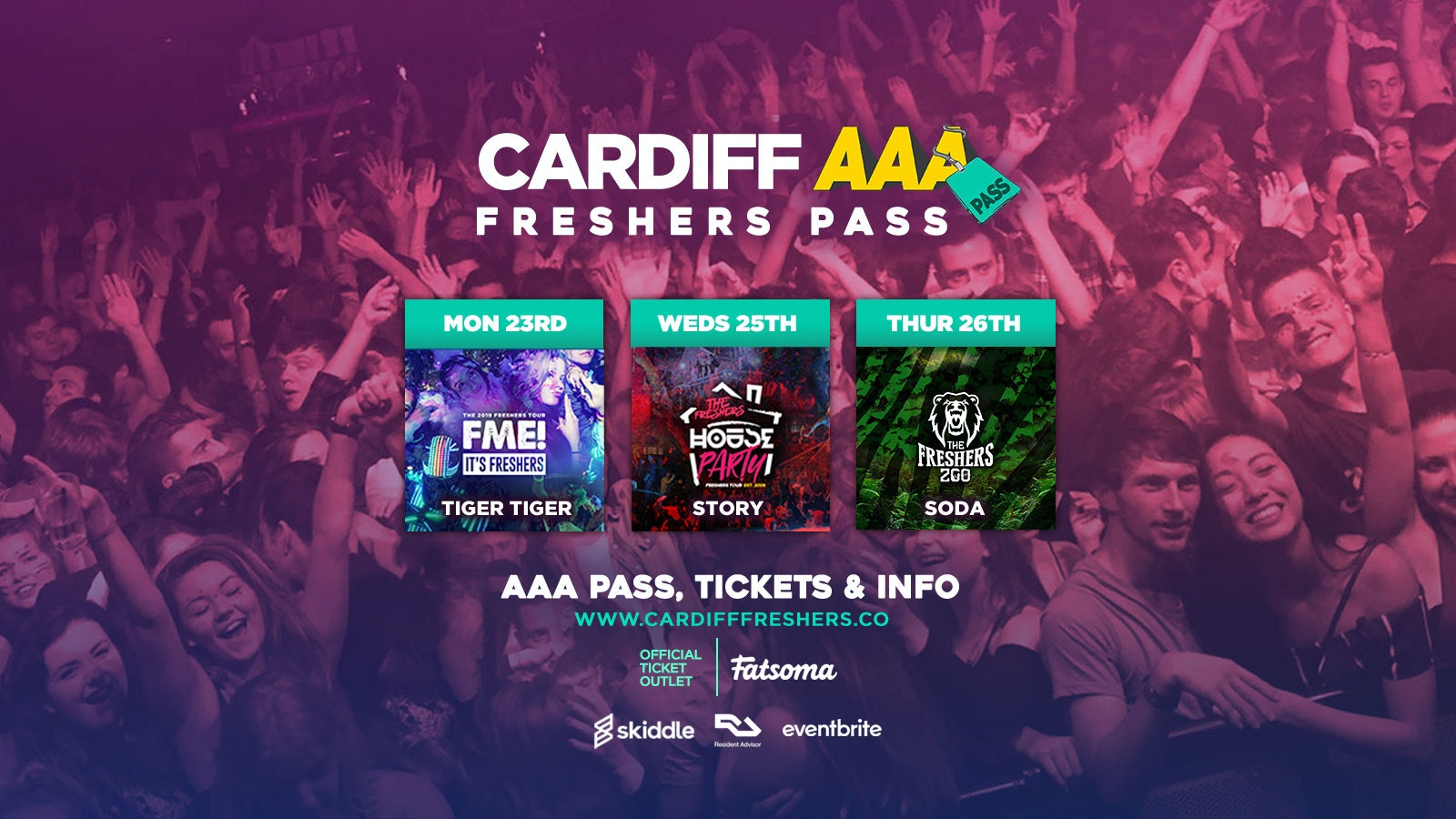 Cardiff AAA Freshers Pass 2019 | 3 Events, 1 Pass /// Cardiff Freshers 2019