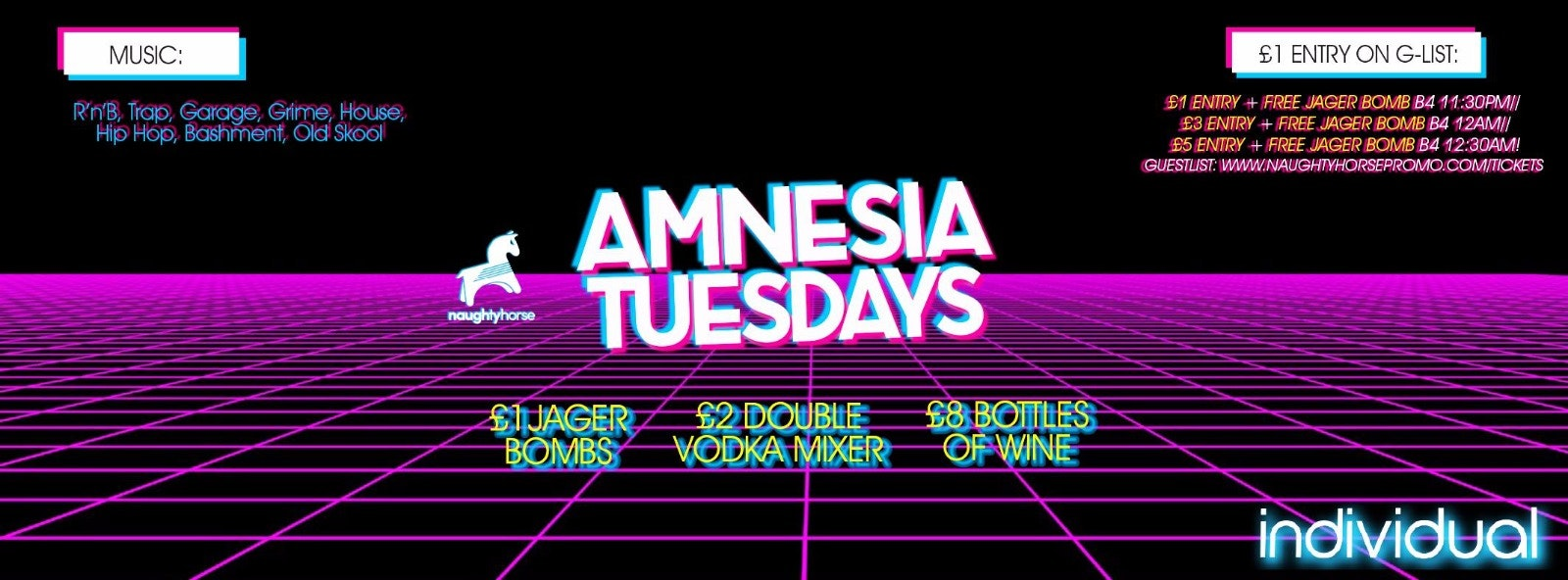 AMNESIA TUESDAYS: FRESHERS PART 2 at Indi (Arcadian) – £1 Entry + FREE JAGERBOMB guestlist!