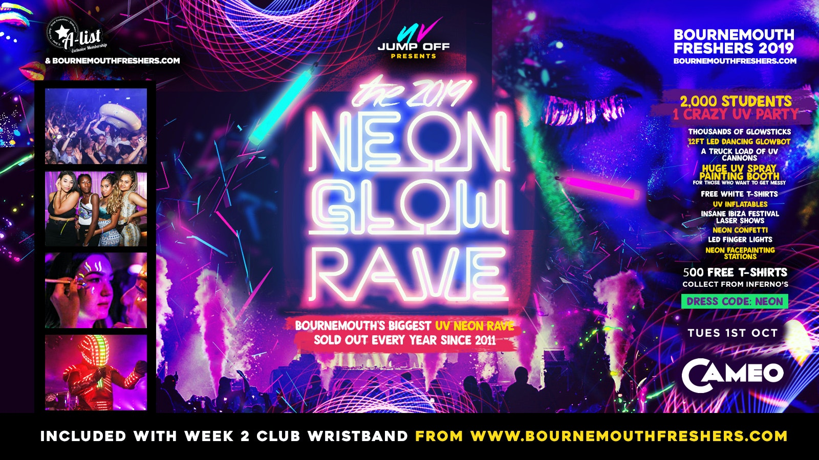 Official Neon Glow Rave // Bournemouth Freshers 2019