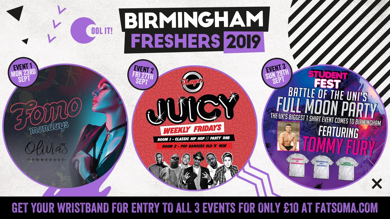 Birmingham Freshers 2019 Wristband incl. BAR CRAWL WITH TOMMY FURY