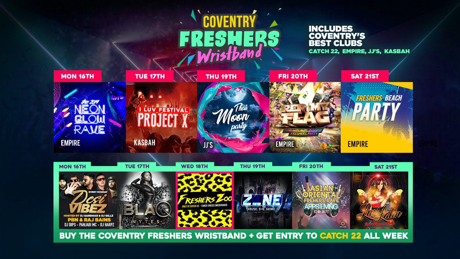 COVENTRY FRESHERS WRISTBAND 2019 / 12 Events, 1 Pass – Last Few Wristbands!