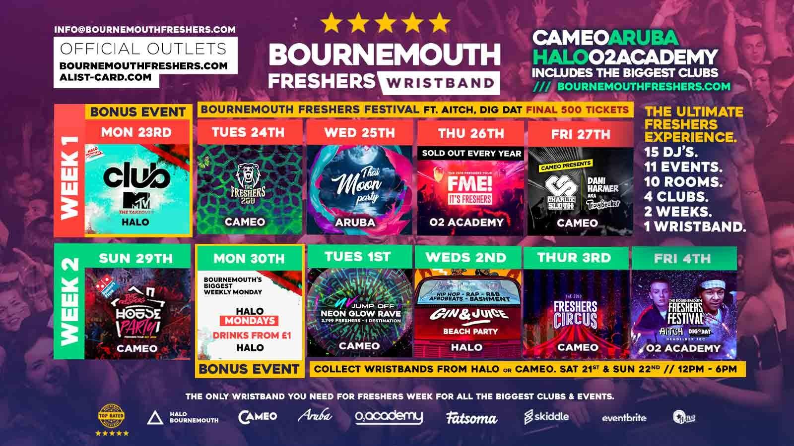 Bournemouth Freshers Wristband 2019 // Bournemouth Freshers 2019 // Cameo – Halo – O2 Academy – Aruba