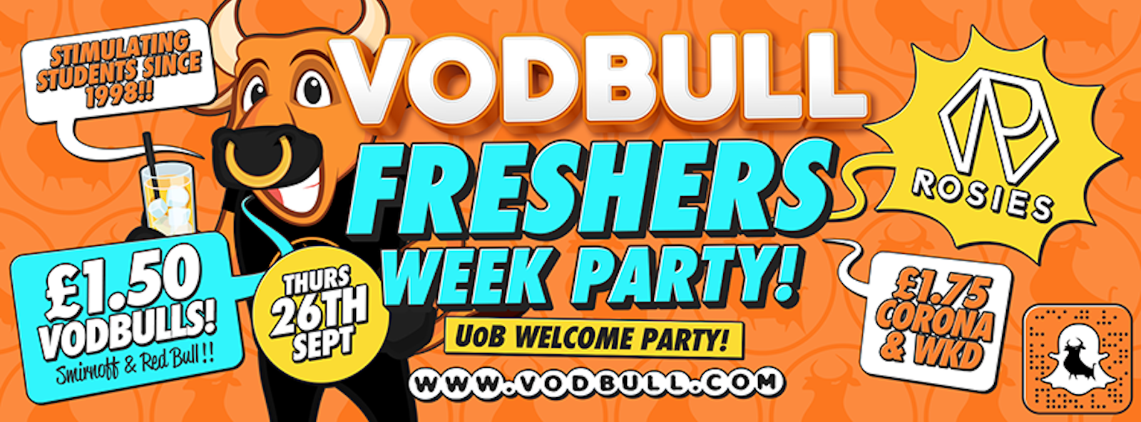 Vodbull!! UoB Freshers Week!! ***95% SOLD OUT***