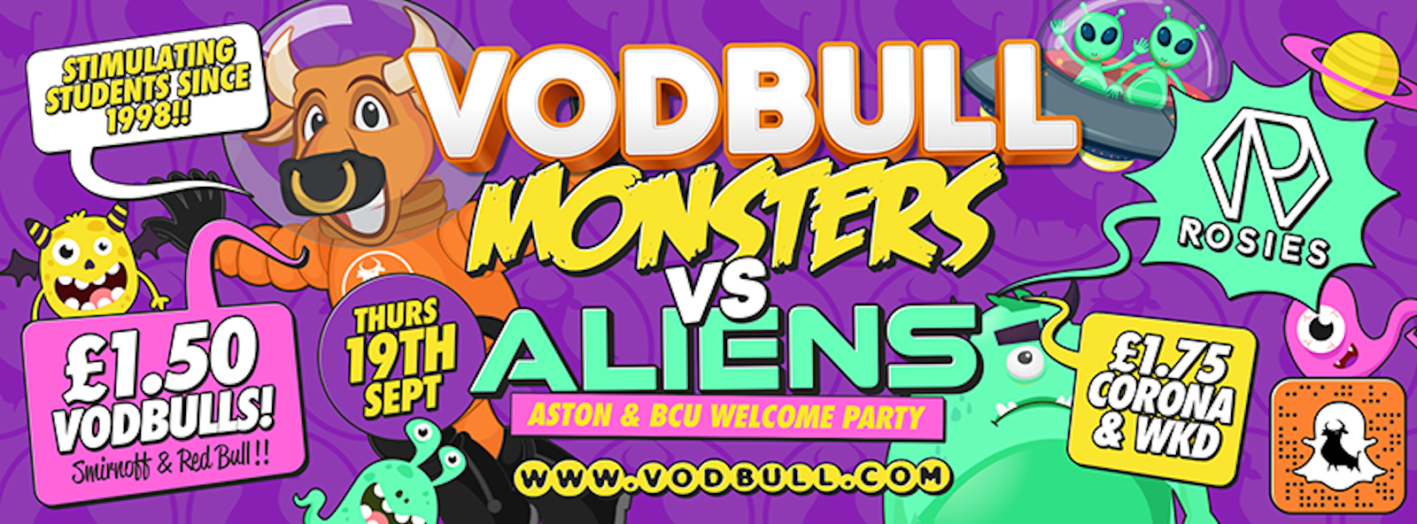Vodbull Monsters Vs Aliens : Aston/BCU Freshers week!! ***90% SOLD OUT!!***