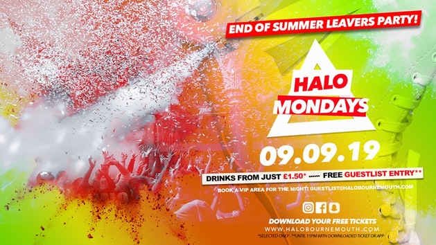 Halo Mondays 09.09 //// Drinks from £1.50 – Bournemouth's Biggest Student Night