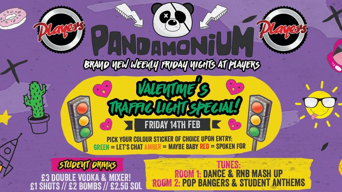 Pandamonium Fridays – Valentine's Traffic Light Party