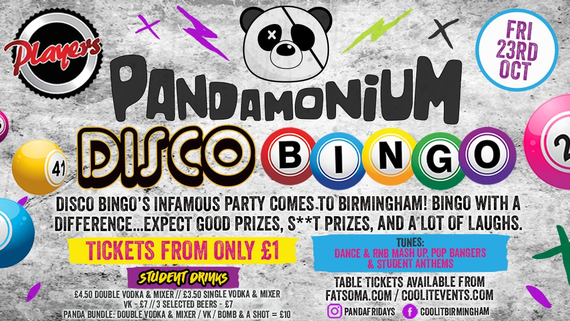 Pandamonium Fridays presents DISCO BINGO