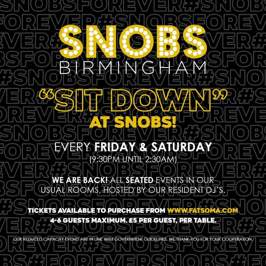 Friday SIT DOWN@ Snobs 4th December