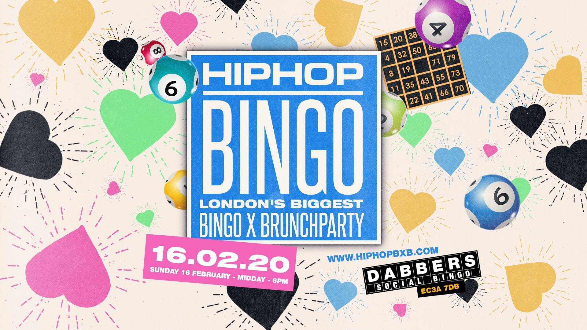 The London HipHop Bingo Brunch 💔 Valentines Weekend – February 16th | Live at Dabbers 🎉