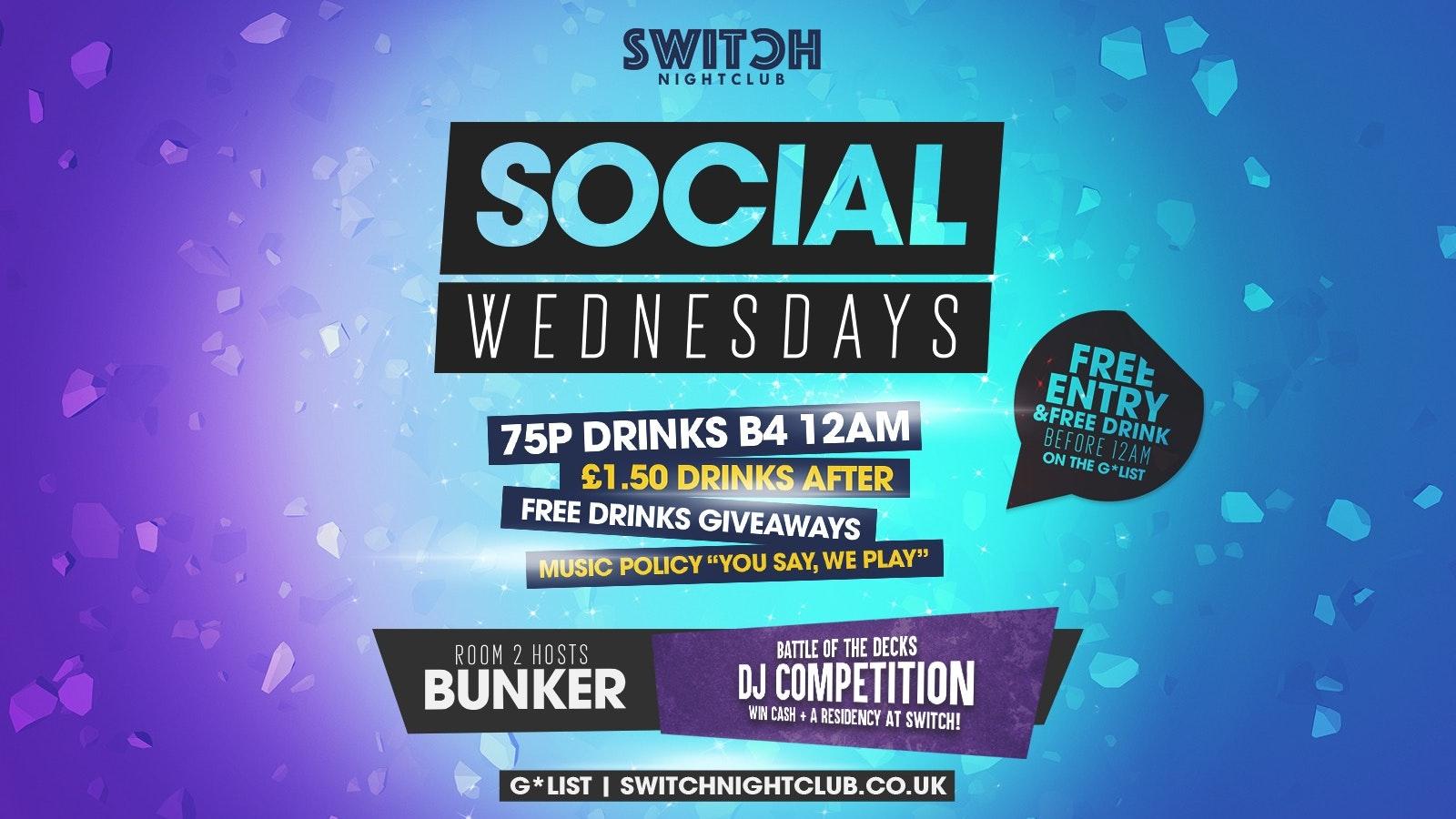 Social Wednesday's 75p Drinks