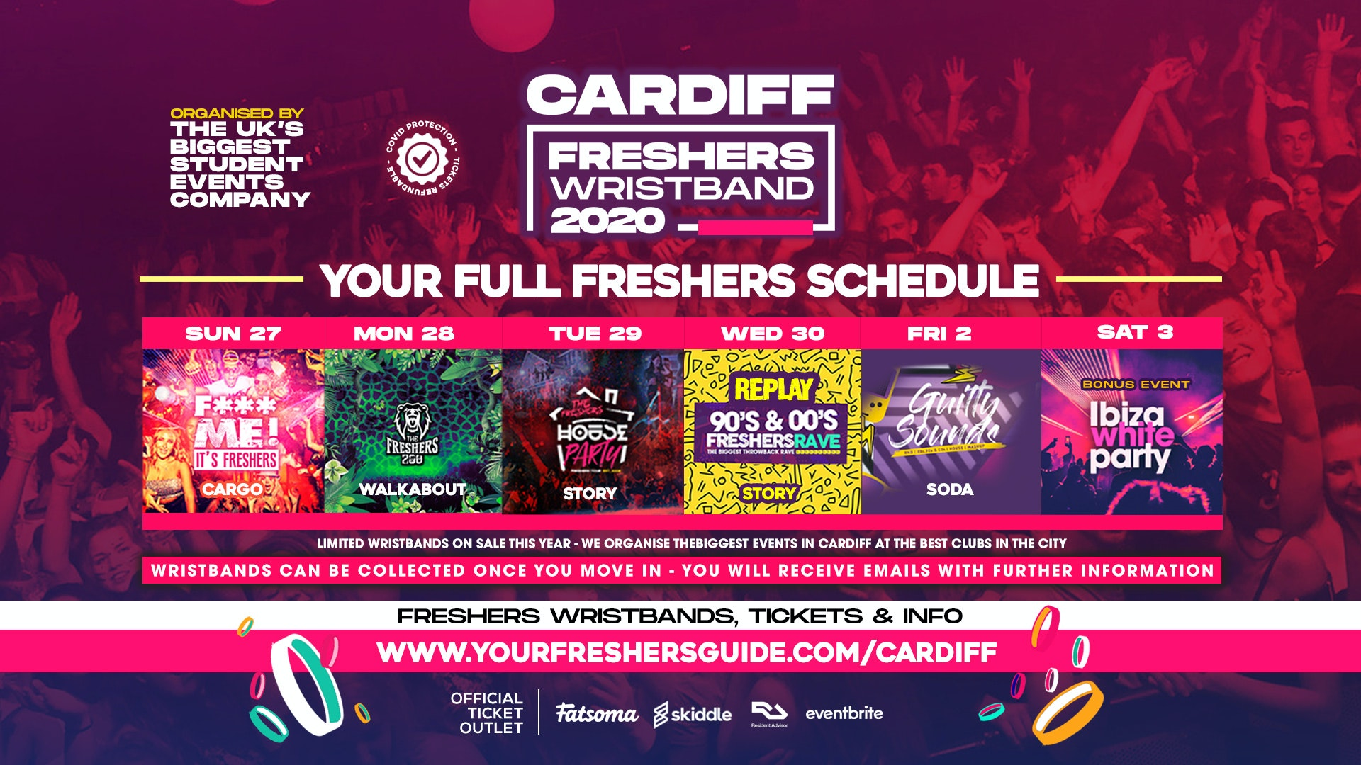 The Cardiff Official Freshers Wristband // Cardiff Freshers 2020