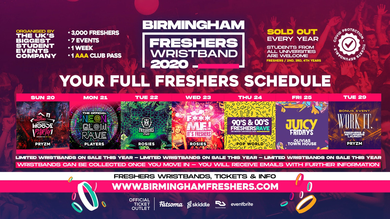 Birmingham Freshers Week Wristband 2020 | Pre-Sale Registration – Includes the BIGGEST events at PRYZM, ROSIES & much more!