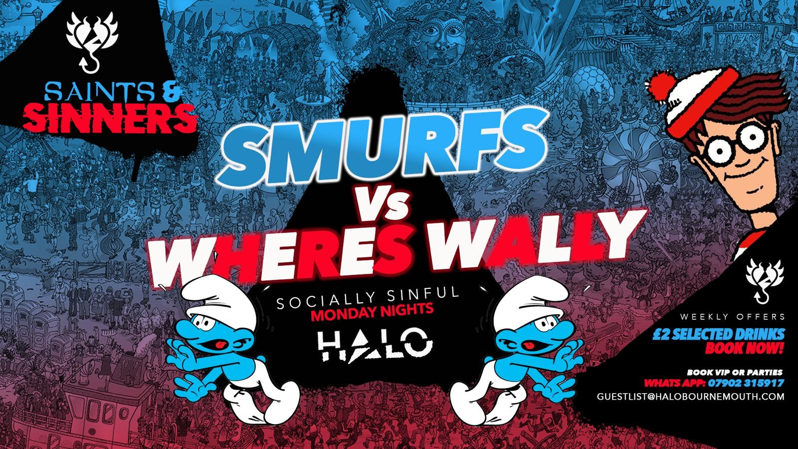 Halo Mondays Where's Wally vs Smurfs – 28/09 – Saints & Sinners //// Drinks from £1.50 – Bournemouth's Biggest Student Night // Bournemouth Freshers