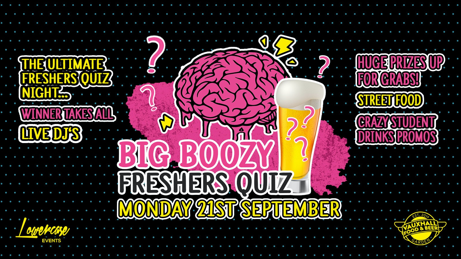 The Socially Distanced Big Boozy Freshers Quiz @ Vauxhall Food & Beer Garden // ONLY 200 TICKETS AVAILABLE!!