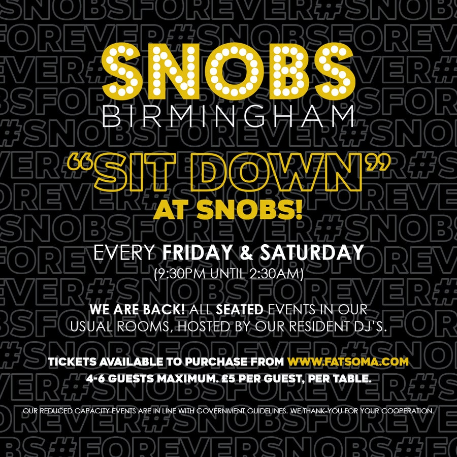 Friday SIT DOWN@ Snobs 2nd October