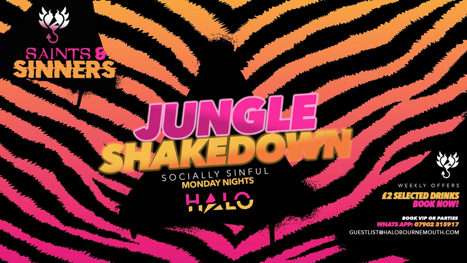 Halo Mondays Jungle Shakedown vs Smurfs – 05/10 – Saints & Sinners //// Drinks from £1.50 – Bournemouth's Biggest Student Night // Bournemouth Freshers
