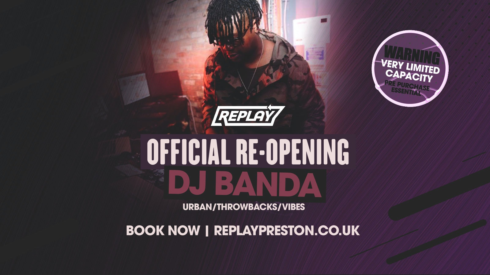 REPLAY is BACK   Monday 17th May   Table Bookings / Entry