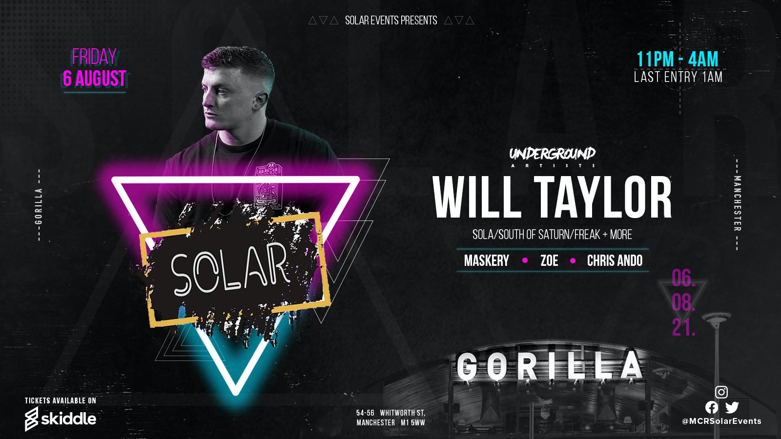 Solar Events presents Will Taylor + Maskery + Zoe +  Chris Ando