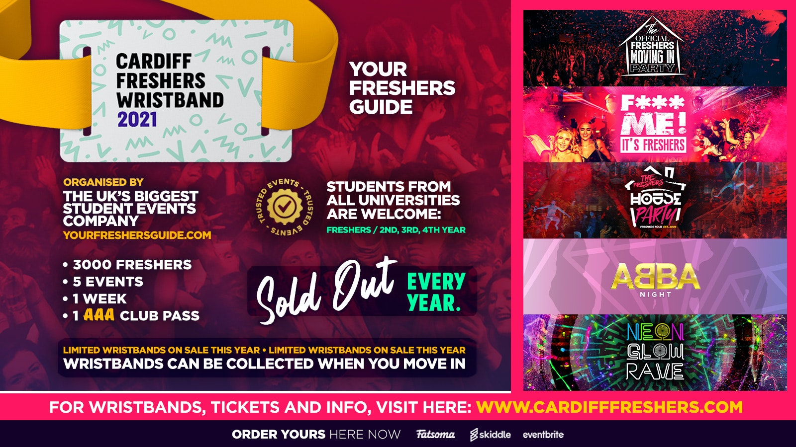 Cardiff Freshers Wristband 2021 – The Official Freshers Pass   Includes the biggest events in Cardiff