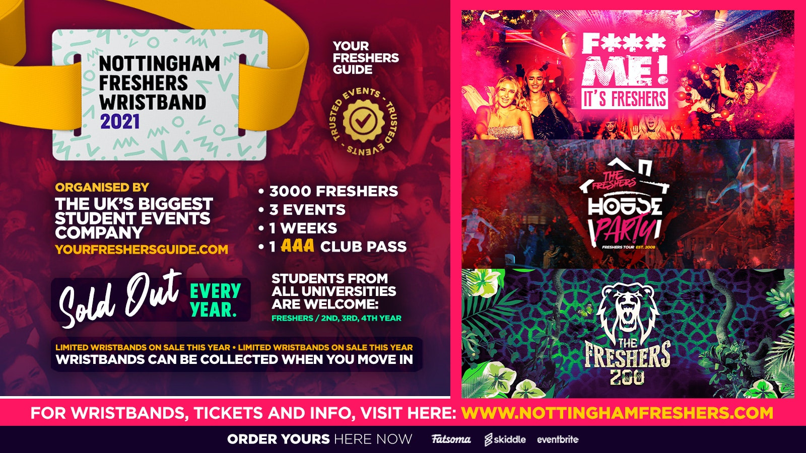 Nottingham Freshers Wristband 2021 – The Official Freshers Pass | Includes the biggest events in Nottingham