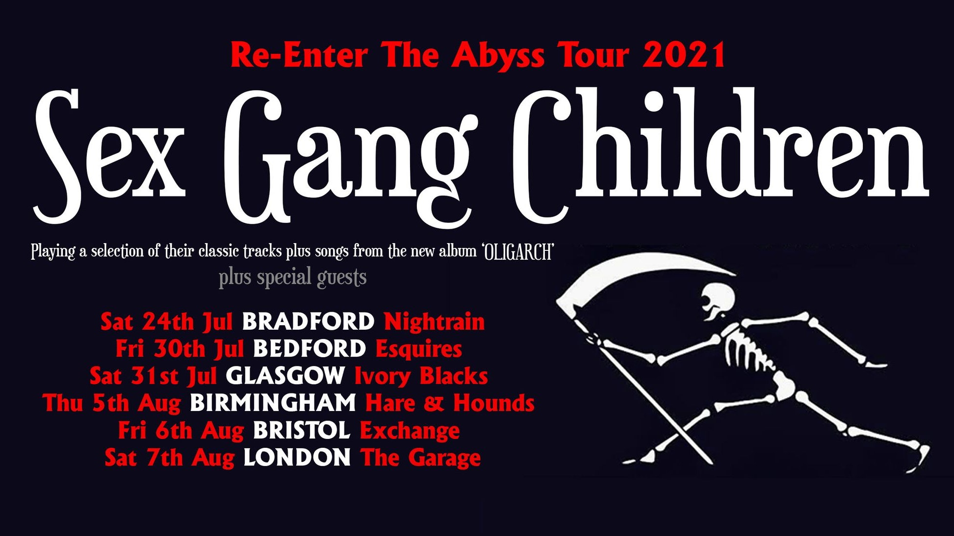 Sex Gang Children Re-Enter The Abyss Tour 2021 – Bedford