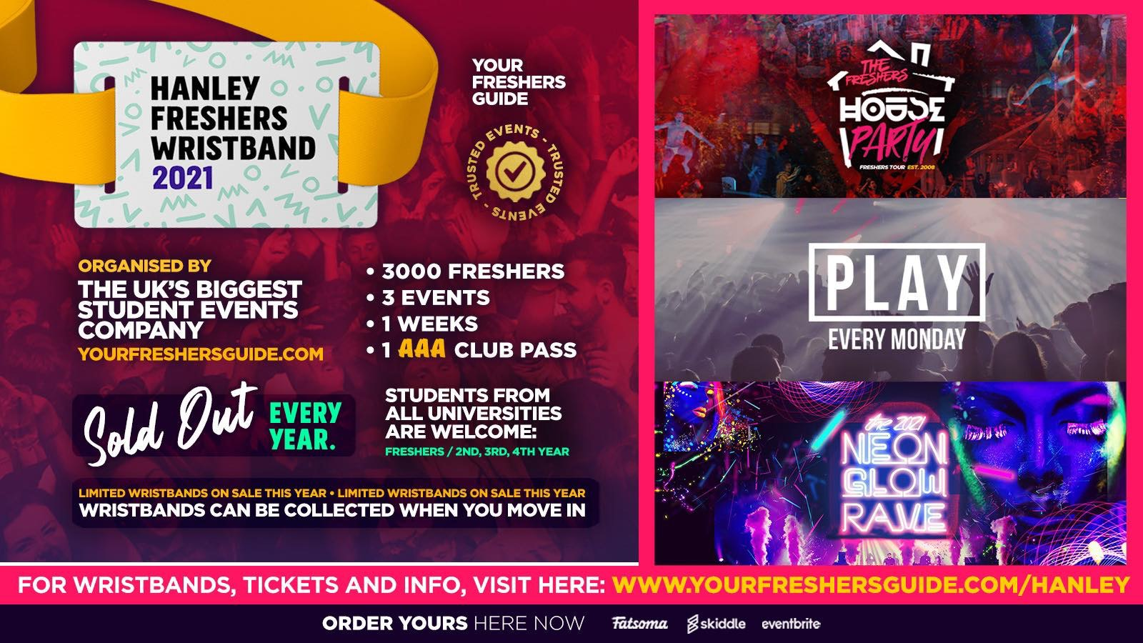 Hanley Freshers Wristband 2021 – The Official Freshers Pass | Includes the biggest events in Hanley
