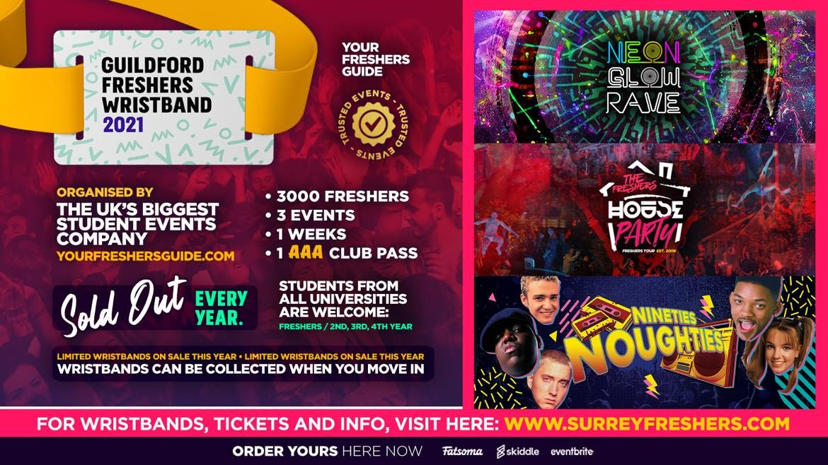 Surrey Freshers Wristband 2021 – The Official Freshers Pass | Includes the biggest events in Surrey!