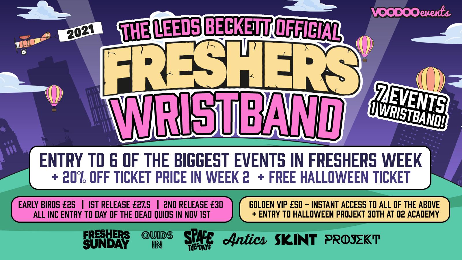 Leeds Beckett Official Freshers Wristband