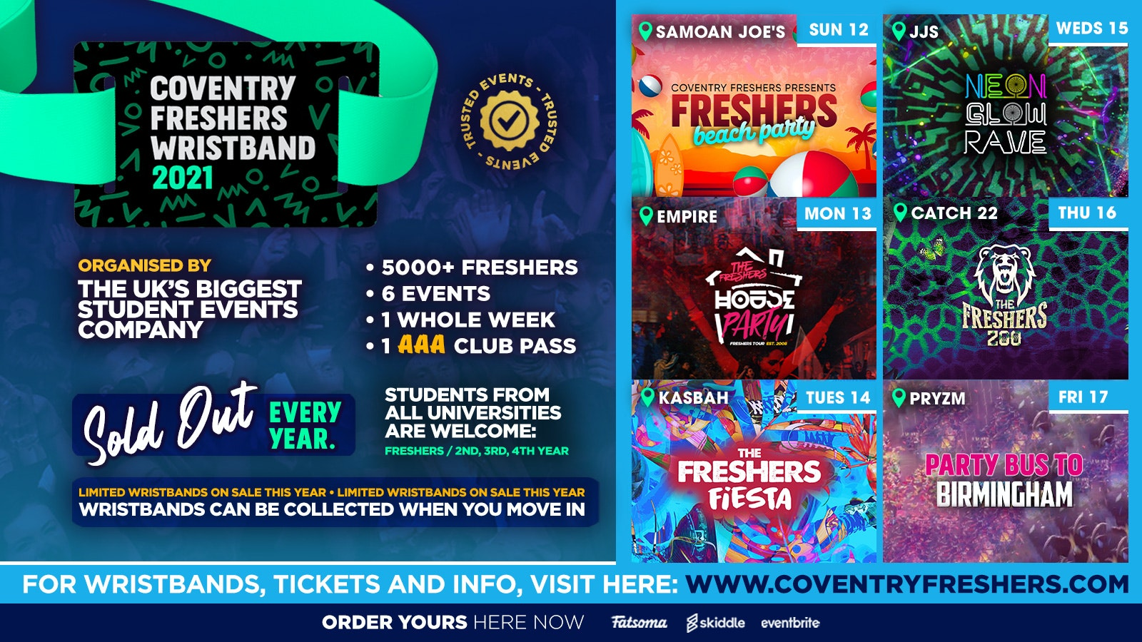 The Coventry Freshers Wristband // Coventry Freshers 2021 – Last FEW Wristbands!