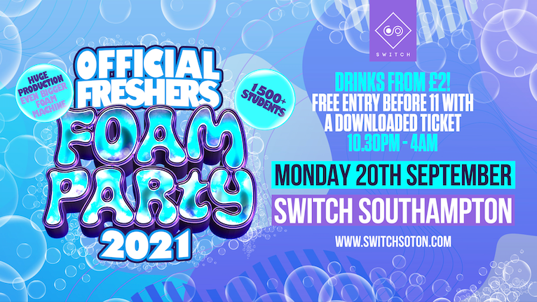 The Official Freshers Foam Party – TONIGHT – Final 200 Tickets