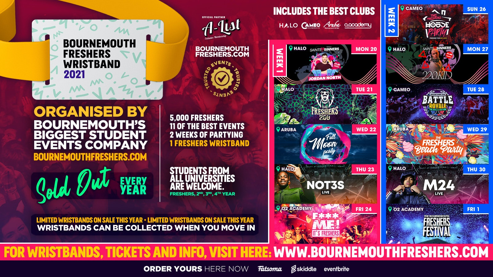 The Bournemouth Freshers Wristband //// Bournemouth Freshers 2021 – ON SALE NOW