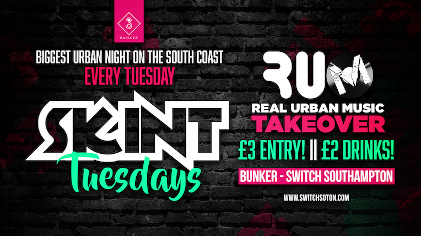 Skint Bunker • RUM Takeover All Things Urban • Every Tuesday