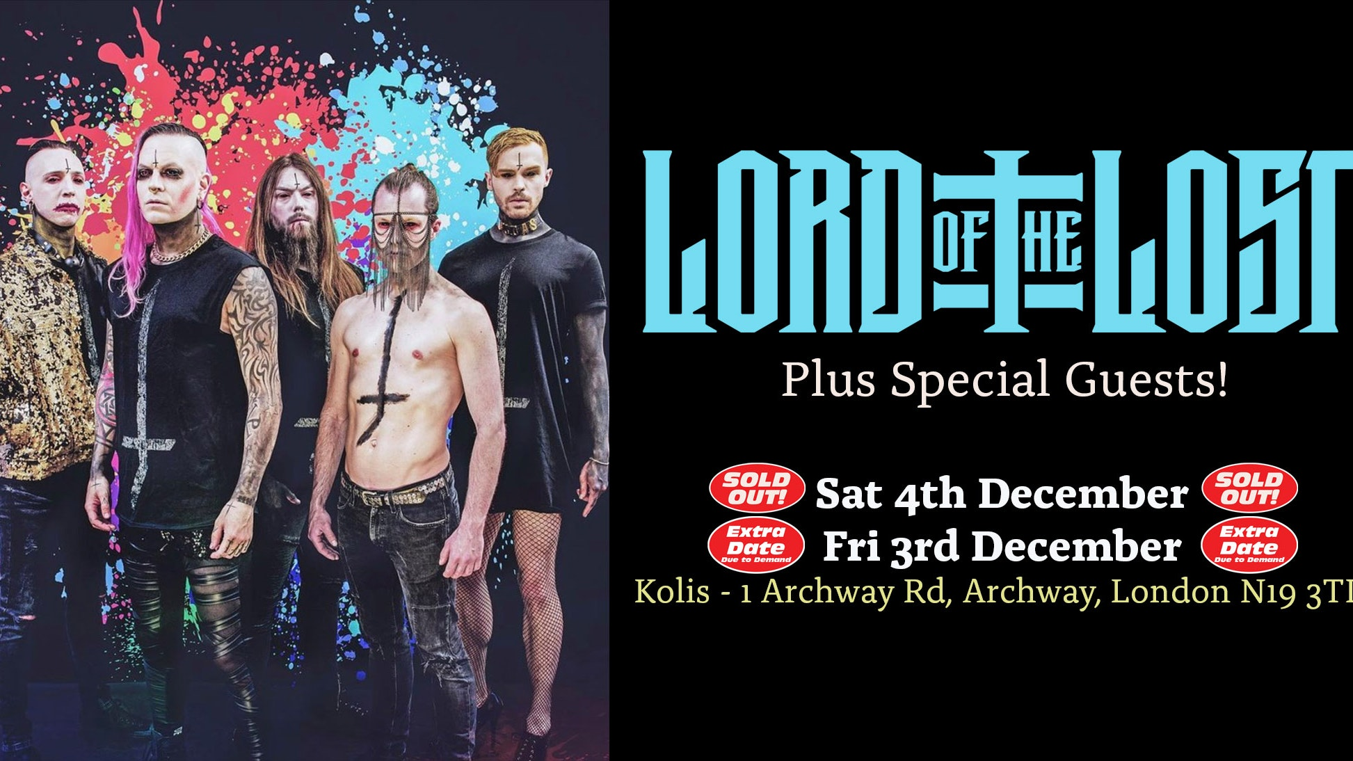 LORD OF THE LOST SOLD OUT ! EXTRA DATE ADDED ON FRIDAY 3rd DECEMBER!